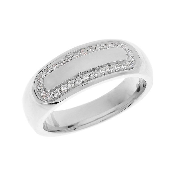 White Gold Diamond Accented Men's Wedding Band