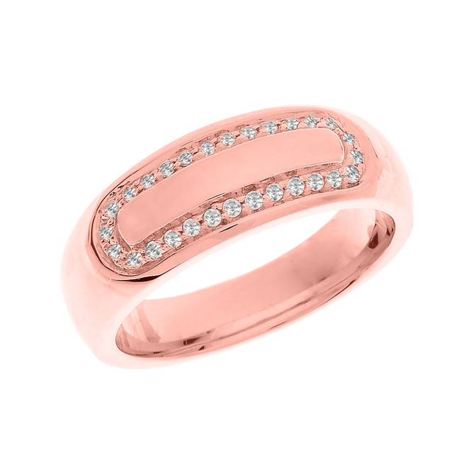 Rose Gold White CZ Men's Wedding Band