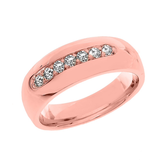Rose Gold Diamond Men's Wedding Band Ring