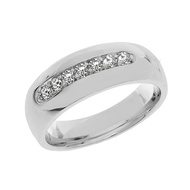 Diamond Sterling Silver Men's Wedding Band