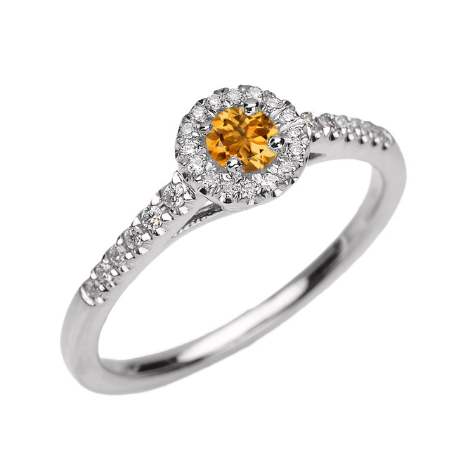 White Gold Diamond and Citrine Dainty Engagement Proposal Ring