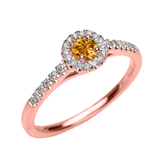 Rose Gold Diamond and Citrine Dainty Engagement and Proposal Ring
