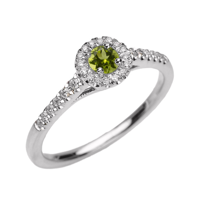 White Gold Diamond and Peridot Dainty Engagement Proposal Ring