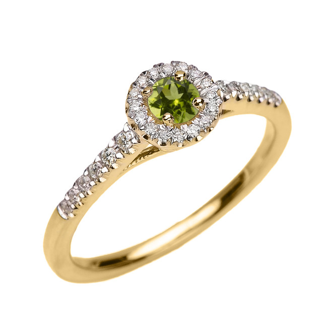 Yellow Gold Diamond and Peridot Dainty Engagement Proposal Ring