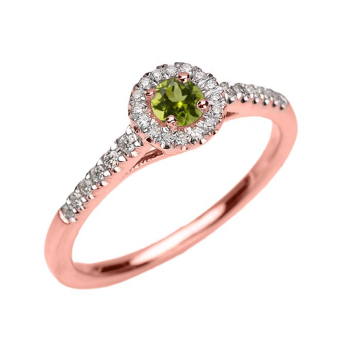 Rose Gold Diamond and Peridot Dainty Engagement Proposal Ring