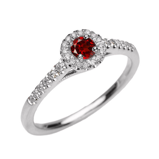 White Gold Diamond and Garnet Dainty Engagement Proposal Ring