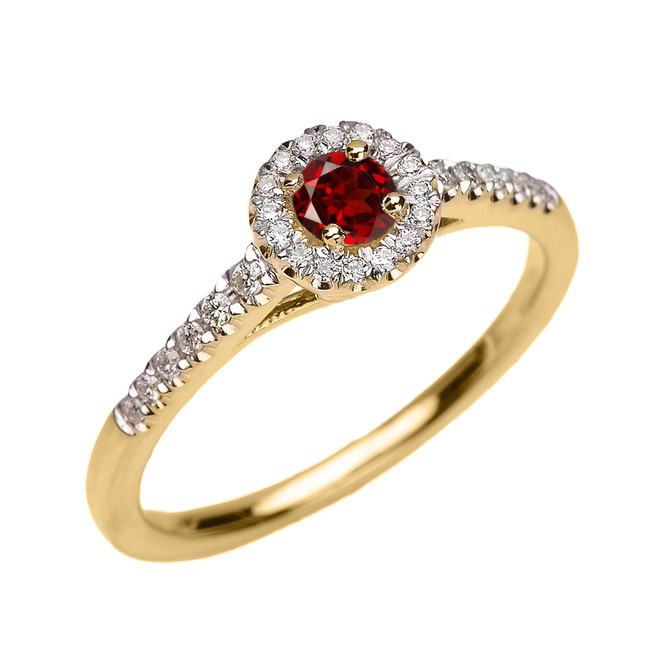 Yellow Gold Diamond and Garnet Dainty Engagement Proposal Ring
