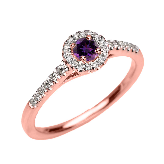 Rose Gold Diamond and Amethyst Dainty Engagement Proposal Ring