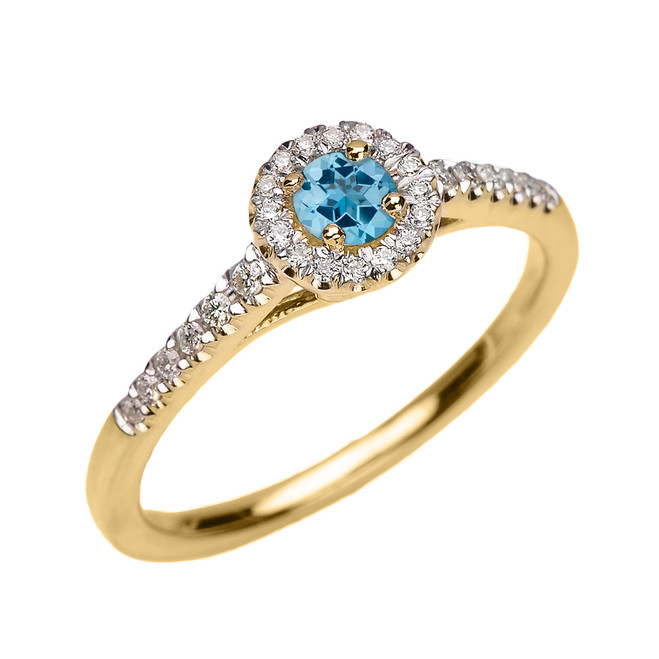 Yellow Gold Diamond and Blue Topaz Dainty Engagement Proposal Ring