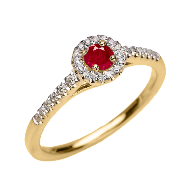 Yellow Gold Diamond and Ruby Dainty Engagement Proposal Ring