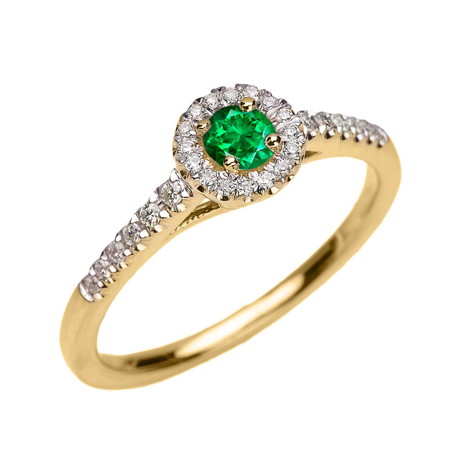 Yellow Gold Diamond and Emerald Dainty Engagement Proposal Ring