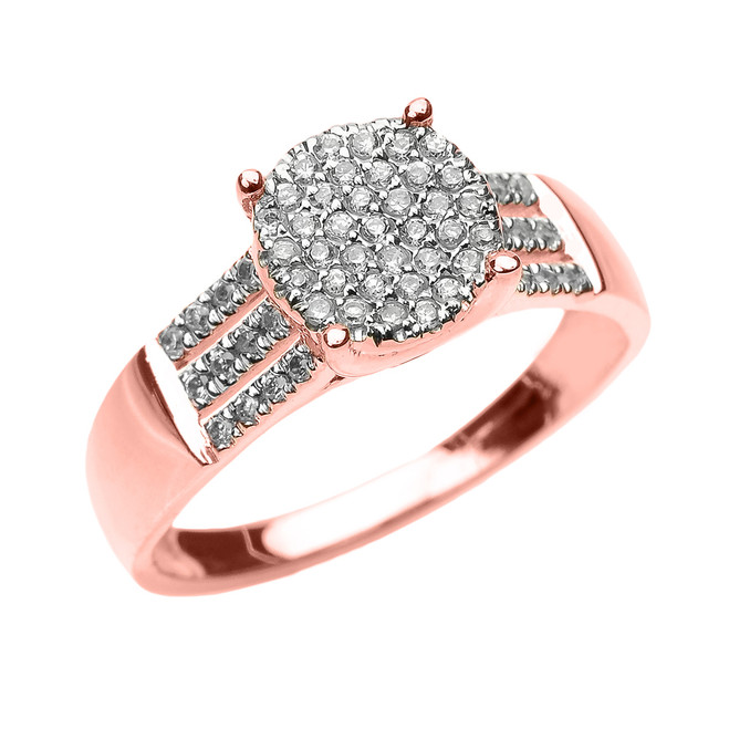 Elegant Rose Gold Three Row Micro Pave Diamond Engagement Ring