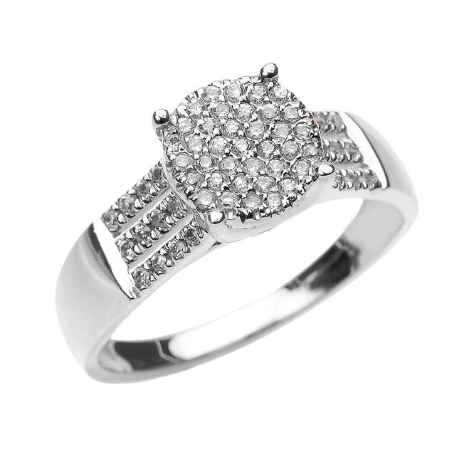 Elegant White Gold Three Row Micro Pave Diamond Engagement Ring