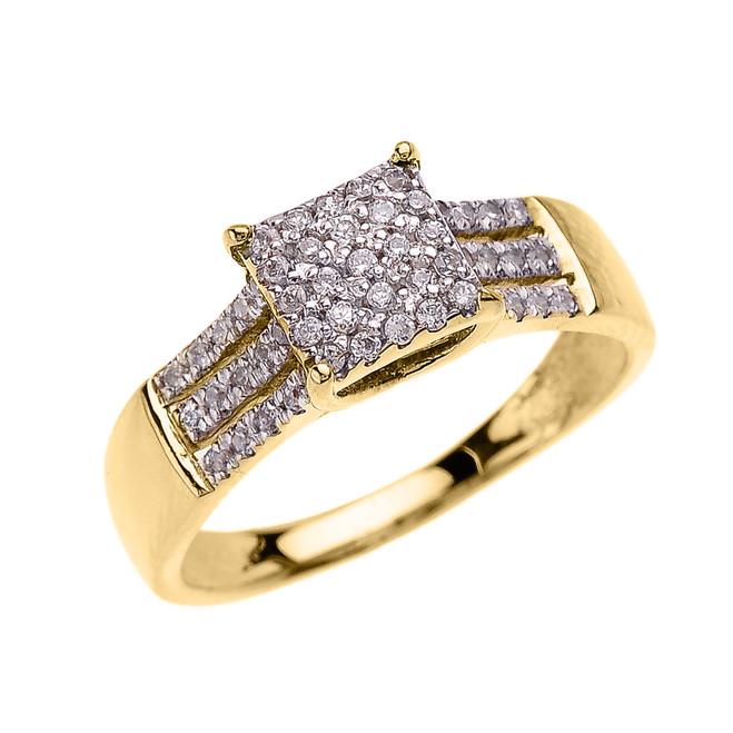 Beautiful Yellow Gold Three Row Micro Pave Diamond Engagement Ring