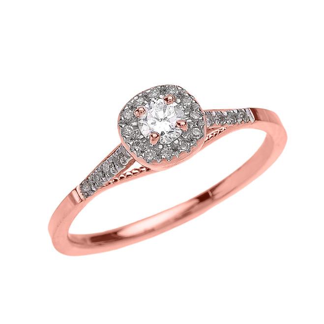 Rose Gold Cushion Shape Halo Diamond Engagement Milgrain Design Ring