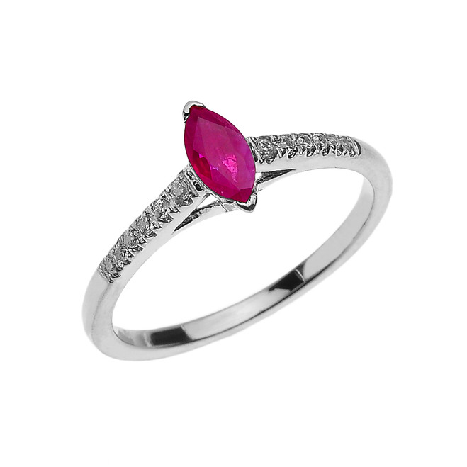 White Gold Ruby and Diamond Modern Engagement Ring
