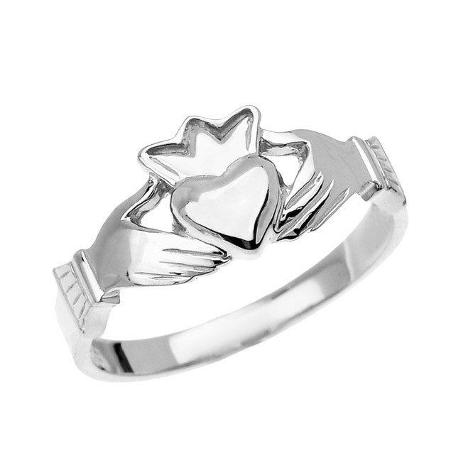 White Gold Dainty Ladies Claddagh Ring