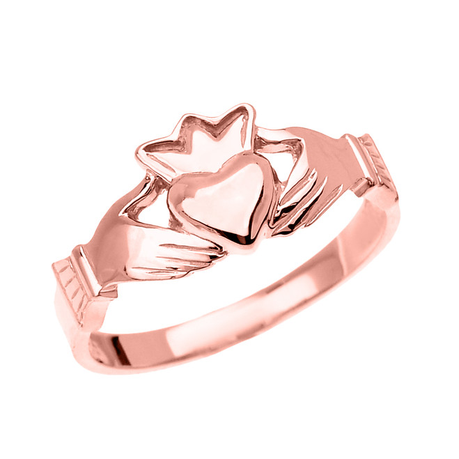 Rose Gold Dainty Ladies Claddagh Ring