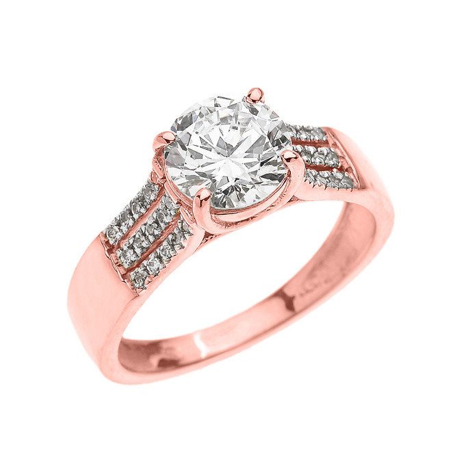 Rose Gold Three Row Micro Pave Diamond Set Engagement Ring with Center-stone CZ (Cubic Zirconia)
