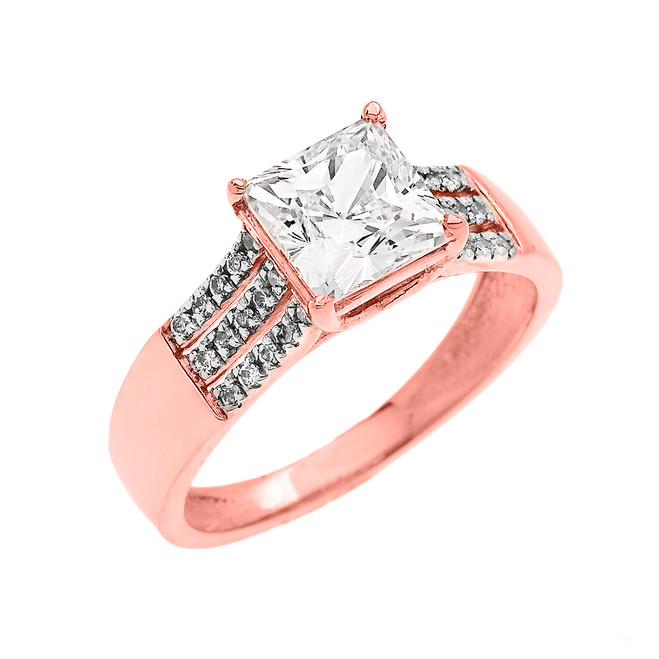 Rose Gold Three Row Micro Pave Diamond Set Engagement Ring with Princess Cut Center-stone CZ (Cubic Zirconia)