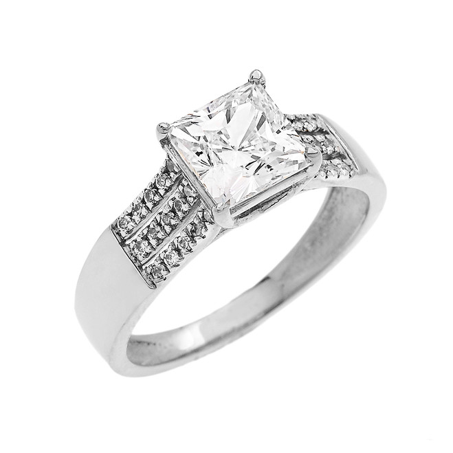 White Gold Three Row Micro Pave Diamond Set Engagement Ring with Princess Cut Center-stone CZ (Cubic Zirconia)