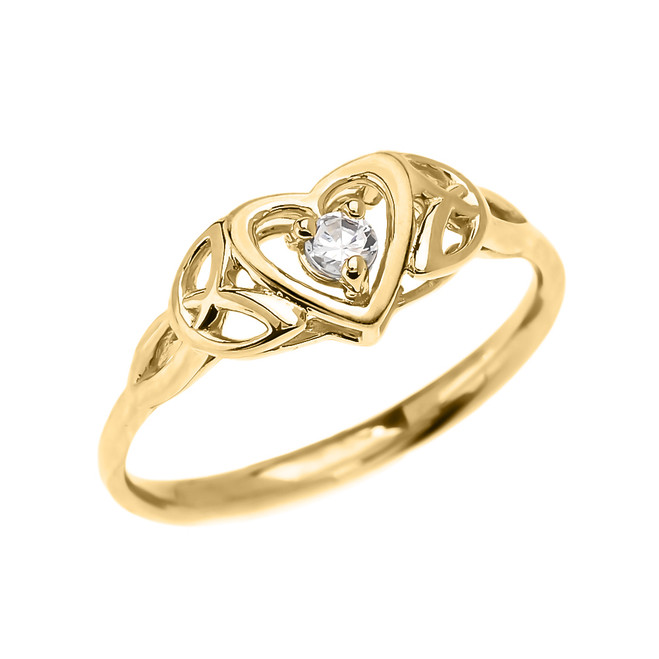 Trinity Knot Heart Solitaire Diamond Yellow Gold Dainty Engagement Proposal Ring