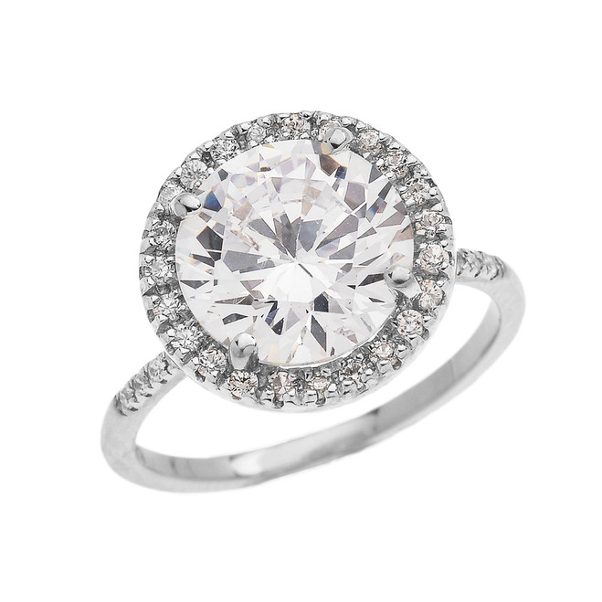 Dainty Engagement and Proposal Diamond White Gold Ring with CZ Center-stone (Micro Pave Setting)