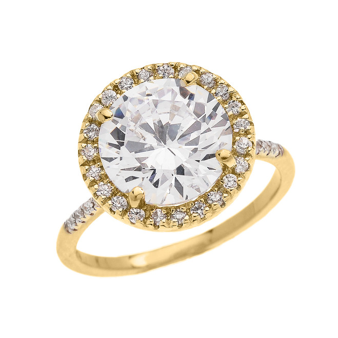 Dainty Engagement and Proposal Diamond Yellow Gold Ring with CZ Center-stone (Micro Pave Setting)