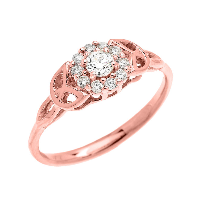 Trinity Knot Halo Diamond Solitaire Rose Gold Engagement Proposal Ring