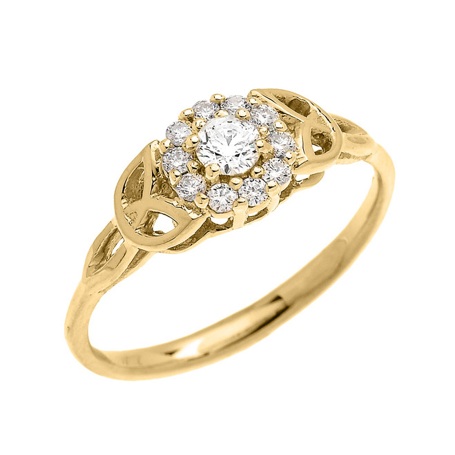 Trinity Knot Halo Diamond Solitaire Yellow Gold Engagement Proposal Ring