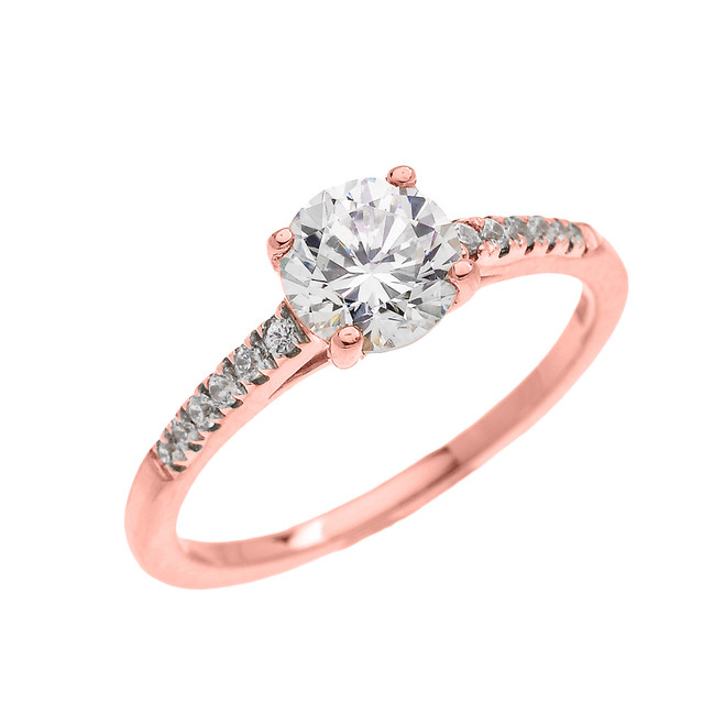 Rose Gold Dainty Diamond Proposal Solitaire Ring With Cubic Zirconia Center-stone (Micro Pave Setting)