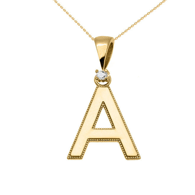 "Yellow Gold High Polish Milgrain Solitaire Diamond ""A"" Initial Pendant Necklace"