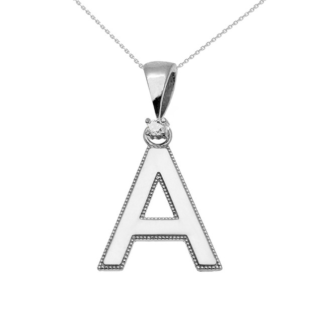 "White Gold High Polish Milgrain Solitaire Diamond ""A"" Initial Pendant Necklace"