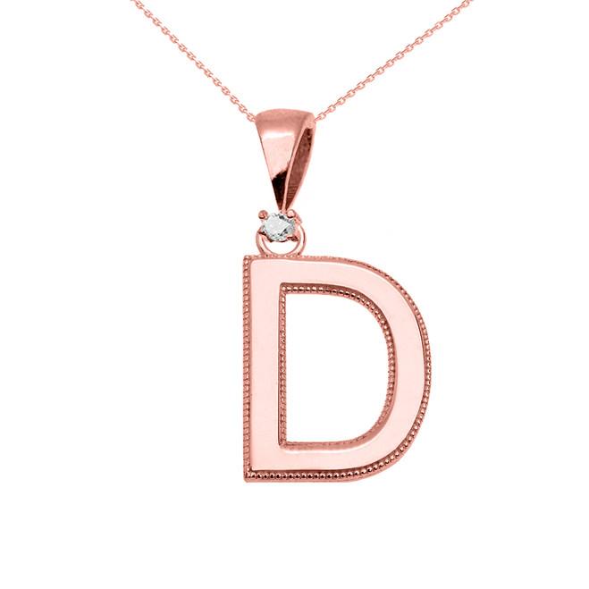 "Rose Gold High Polish Milgrain Solitaire Diamond ""D"" Initial Pendant Necklace"
