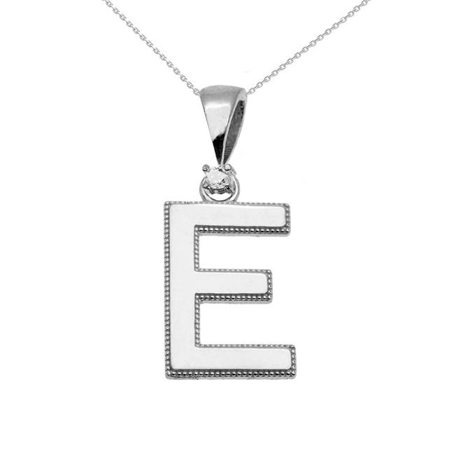 "White Gold High Polish Milgrain Solitaire Diamond ""E"" Initial Pendant Necklace"