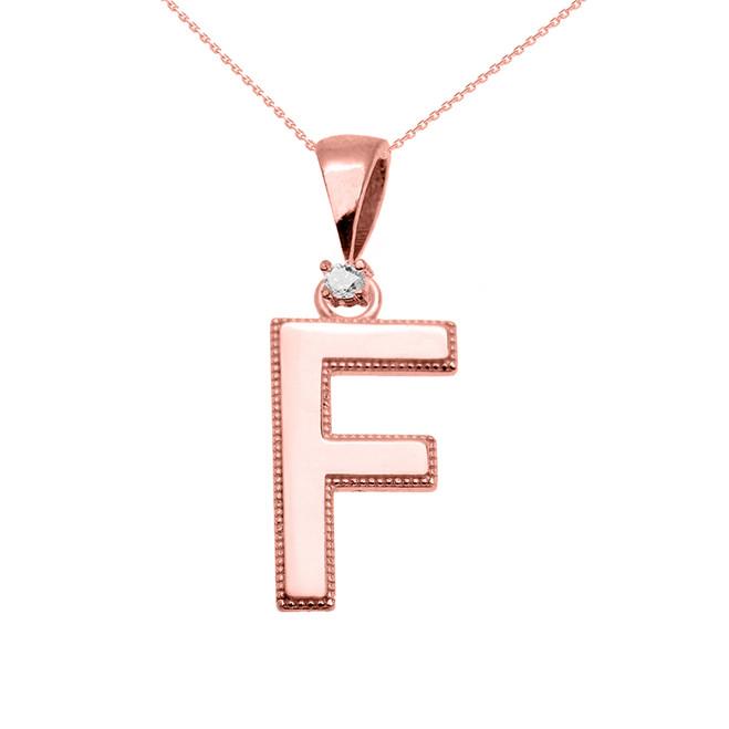"Rose Gold High Polish Milgrain Solitaire Diamond ""F"" Initial Pendant Necklace"