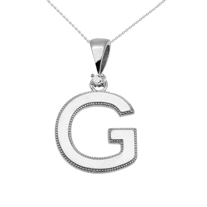 "White Gold High Polish Milgrain Solitaire Diamond ""G"" Initial Pendant Necklace"
