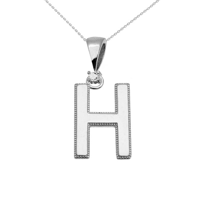 "White Gold High Polish Milgrain Solitaire Diamond ""H"" Initial Pendant Necklace"