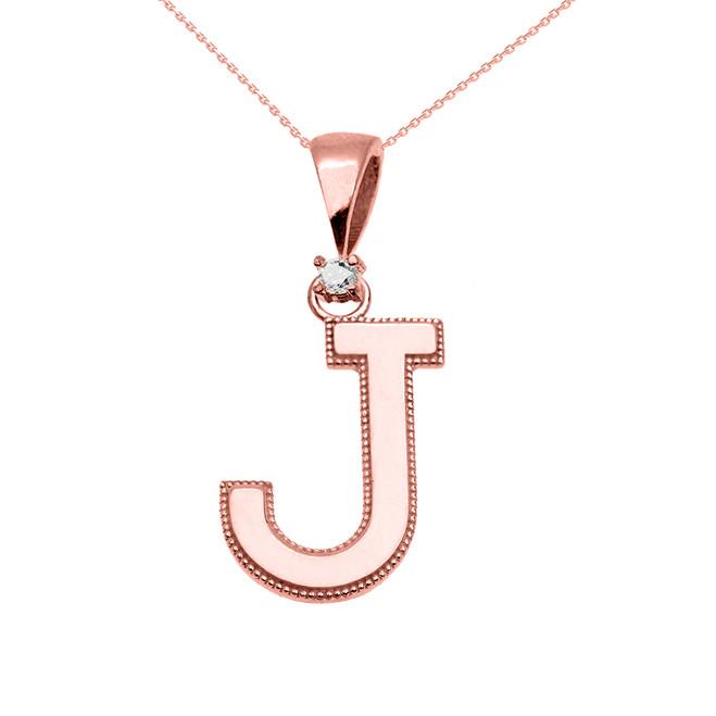 "Rose Gold High Polish Milgrain Solitaire Diamond ""J"" Initial Pendant Necklace"