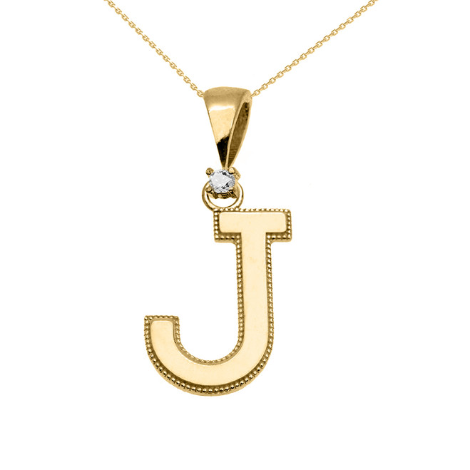 "Yellow Gold High Polish Milgrain Solitaire Diamond ""J"" Initial Pendant Necklace"