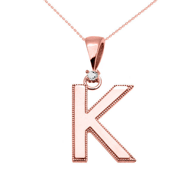 "Rose Gold High Polish Milgrain Solitaire Diamond ""K"" Initial Pendant Necklace"