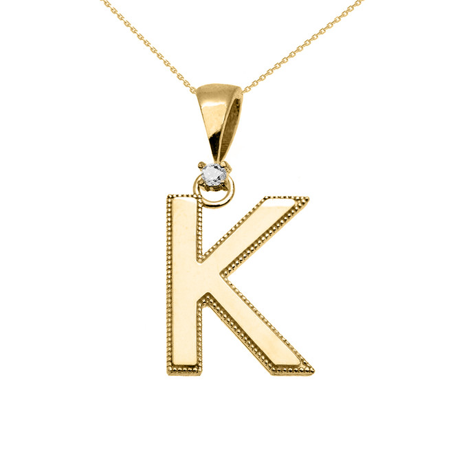 "Yellow Gold High Polish Milgrain Solitaire Diamond ""K"" Initial Pendant Necklace"