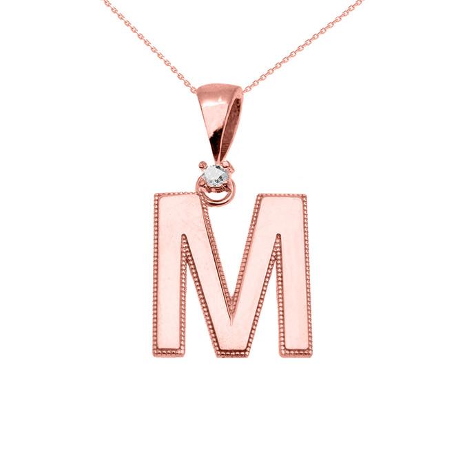 "Rose Gold High Polish Milgrain Solitaire Diamond ""M"" Initial Pendant Necklace"