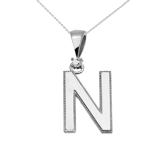 "White Gold High Polish Milgrain Solitaire Diamond ""N"" Initial Pendant Necklace"