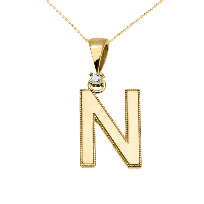 "Yellow Gold High Polish Milgrain Solitaire Diamond ""N"" Initial Pendant Necklace"