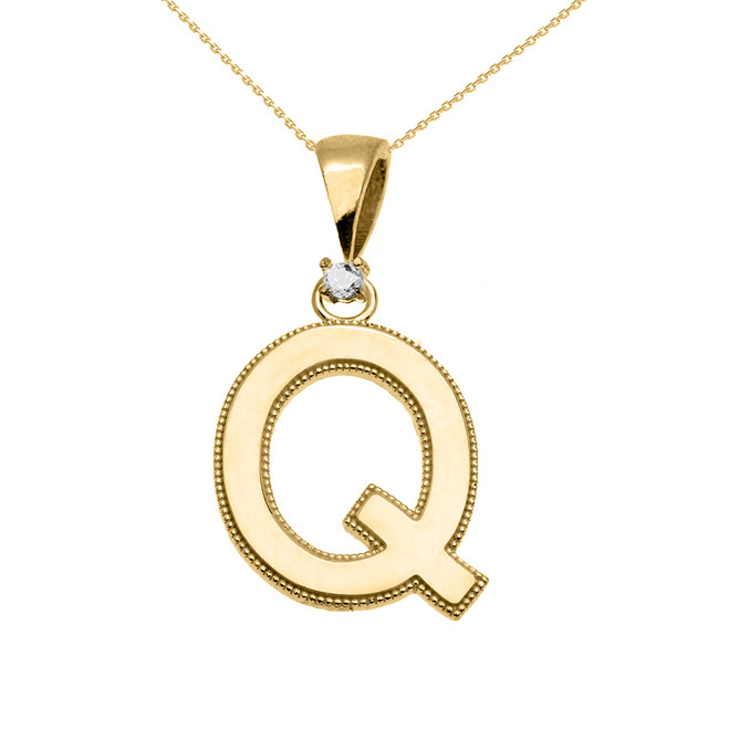"Yellow Gold High Polish Milgrain Solitaire Diamond ""Q"" Initial Pendant Necklace"