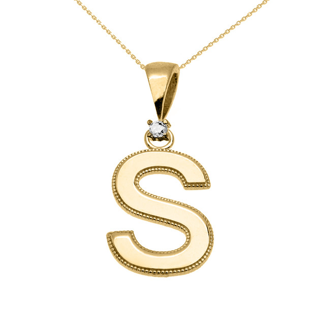 "Yellow Gold High Polish Milgrain Solitaire Diamond ""S"" Initial Pendant Necklace"