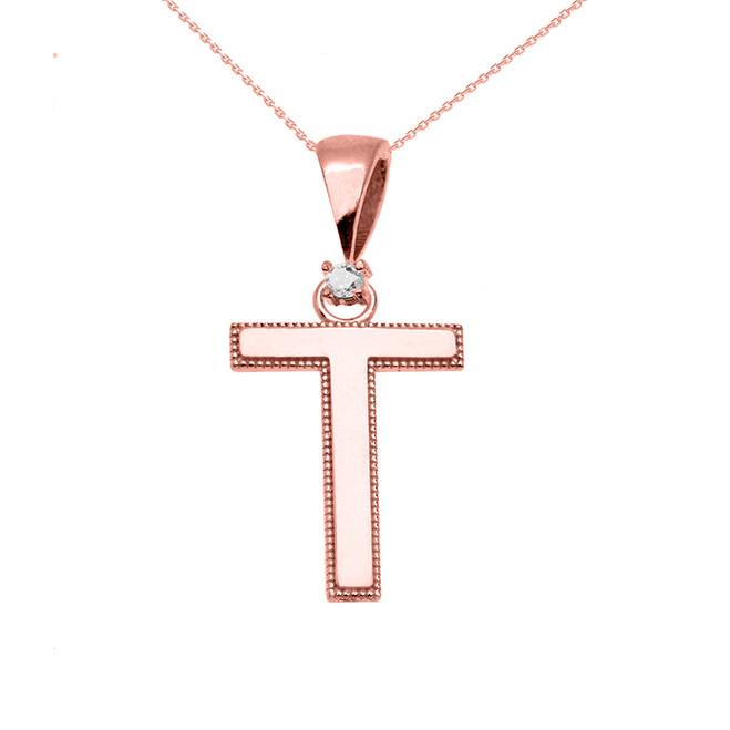"Rose Gold High Polish Milgrain Solitaire Diamond ""T"" Initial Pendant Necklace"