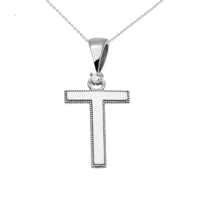 "White Gold High Polish Milgrain Solitaire Diamond ""T"" Initial Pendant Necklace"