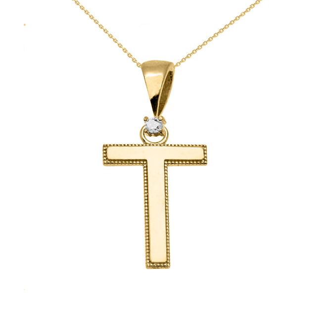 "Yellow Gold High Polish Milgrain Solitaire Diamond ""T"" Initial Pendant Necklace"